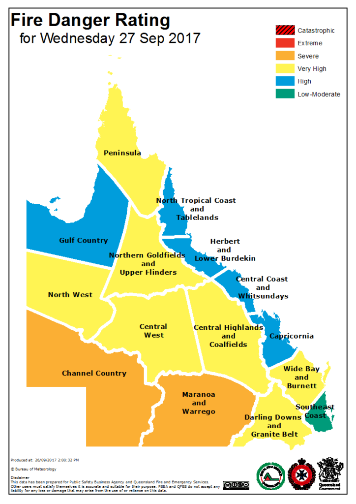Forecast fire danger threat for Wednesday via QFES
