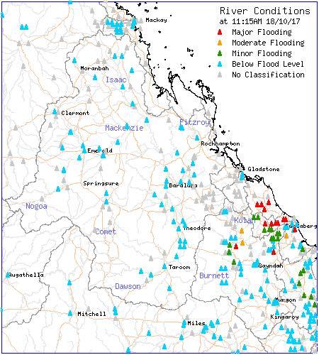 River Flooding map via BOM (valid 11:15am, October 18th 2017)