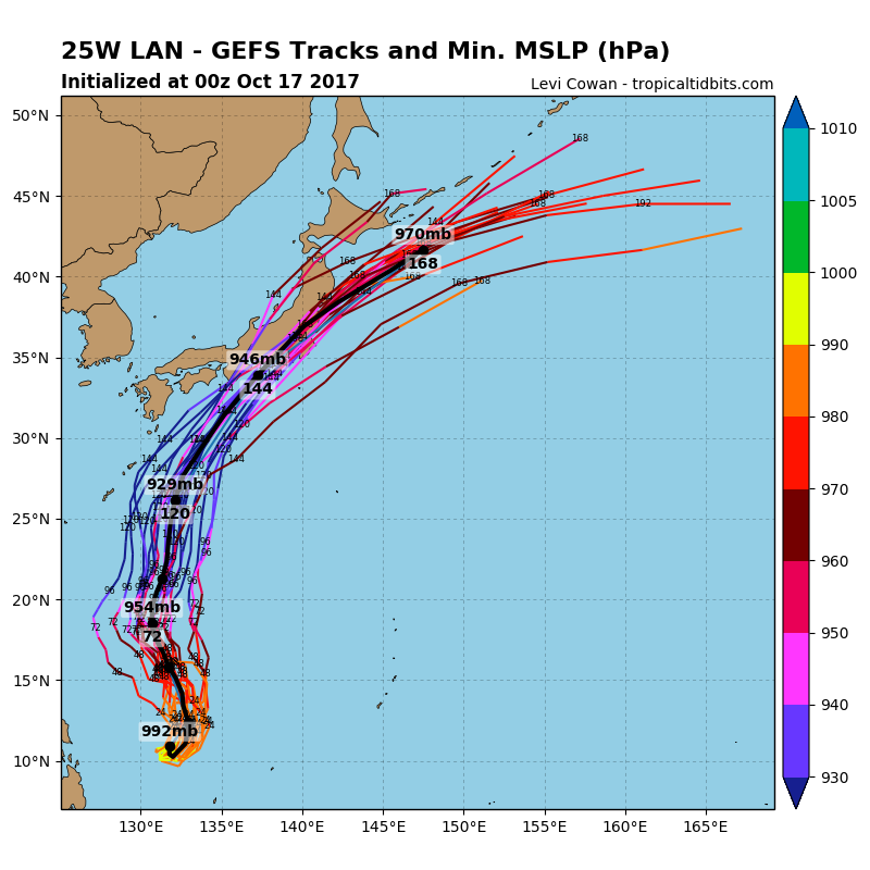 Forecast model prediction for Lan's track - valid as of Tuesday (AEST) afternoon.