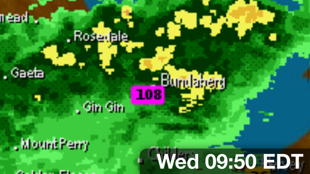 Bundaberg AWS topping over 100mm prior to 9am Wednesday, October 18th 2017 via Weatherzone