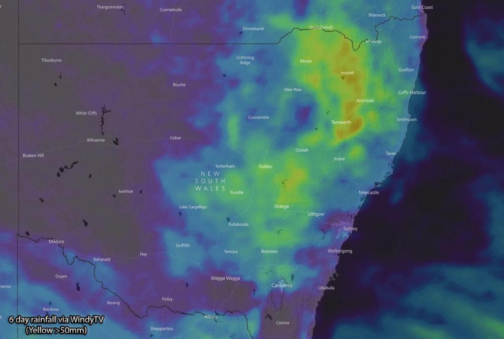Forecast 6 day rainfall via WindyTV (yellow shading >50mm)