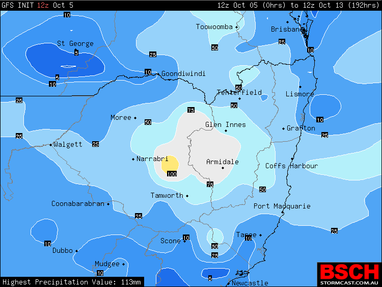 Forecast weekly rainfall for Northern NSW via BSCH / GFS