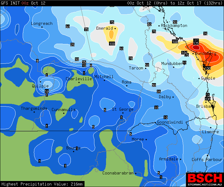 Forecast 5 day rainfall via GFS / BSCH