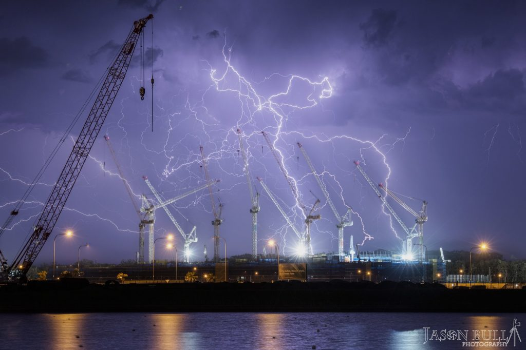 6 image stack of a lightning barrage over North Brisbane in October 2014 via HSC Photographer Jason Bull