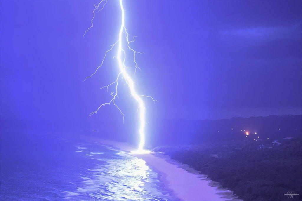 Lightning striking the beach at Byron Bay on January 2nd 2017 via HSC Photographers DK Photography