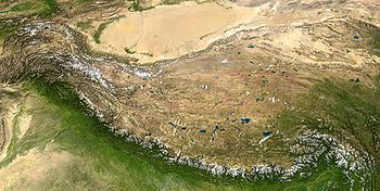The Tibetan Plateau is probably the best example of a rain shadow around the world