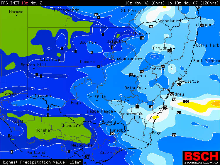 Forecast 5 day rainfall via GFS / BSCH for NSW