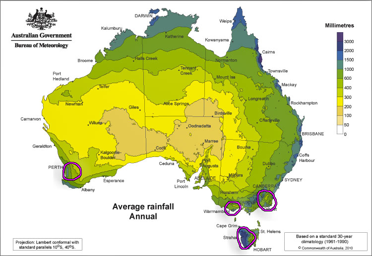 Areas in Australia impacted by Rain Shadows via BOM