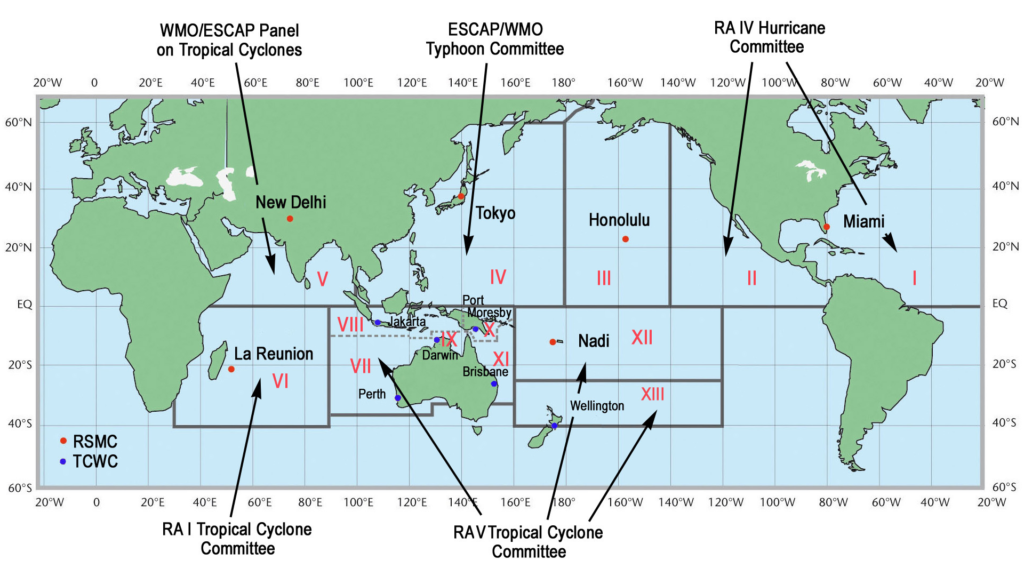 An illustration showing who monitors which area across the globe.