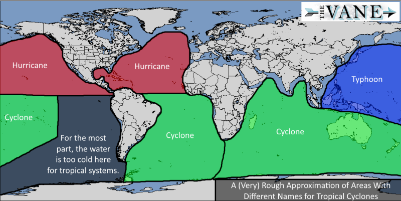 An approximation of where each system occurs in regards to regions and oceans via The Vane