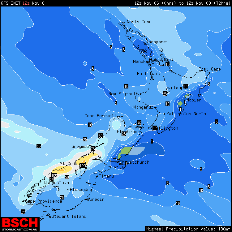 Forecast Rainfall via GFS / BSCH