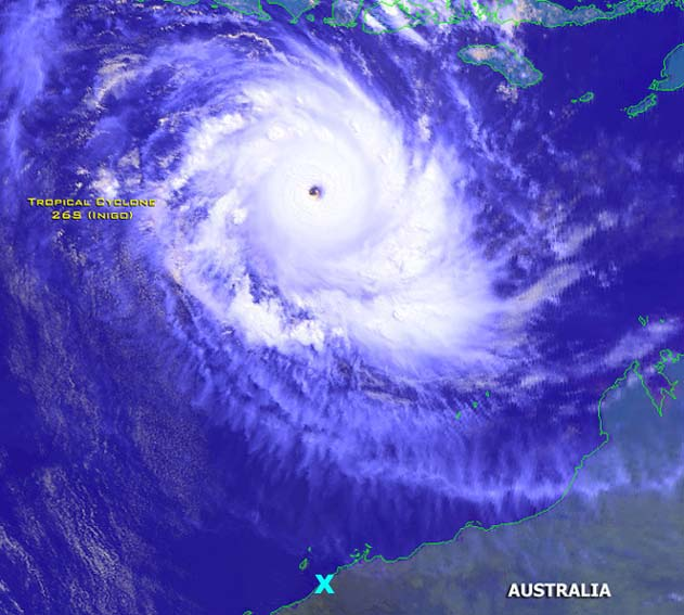 Cyclone Inigo at peak intensity via Emergency.co.nz