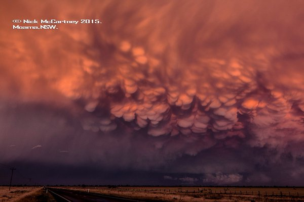 Mammatus captured on a severe thunderstorm at Moama, NSW via Nick McCartney in 2015