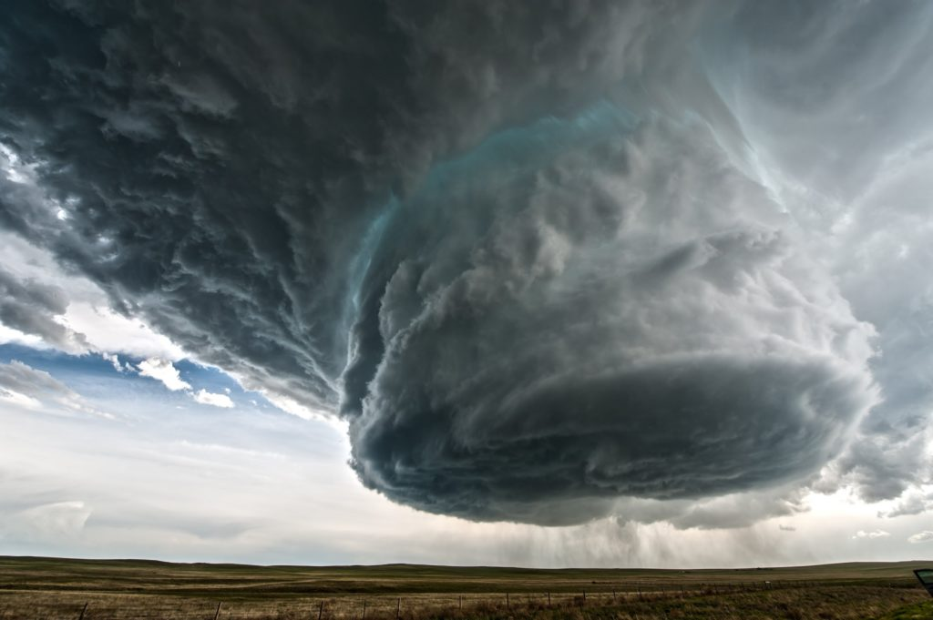 Image of a huge rotating wall cloud over Wyoming. Image credit: Colt Forney