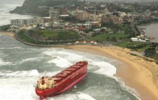 Pasha Bulka being washed ashore during a dangerous East Coast Low