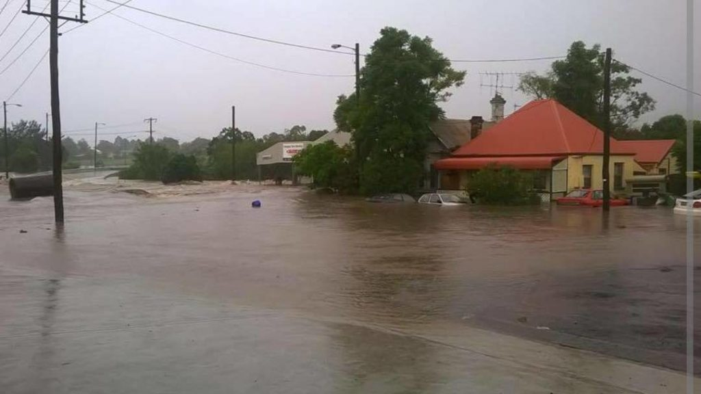Severe flooding through Dungog, NSW during the 2015 East Coast Low