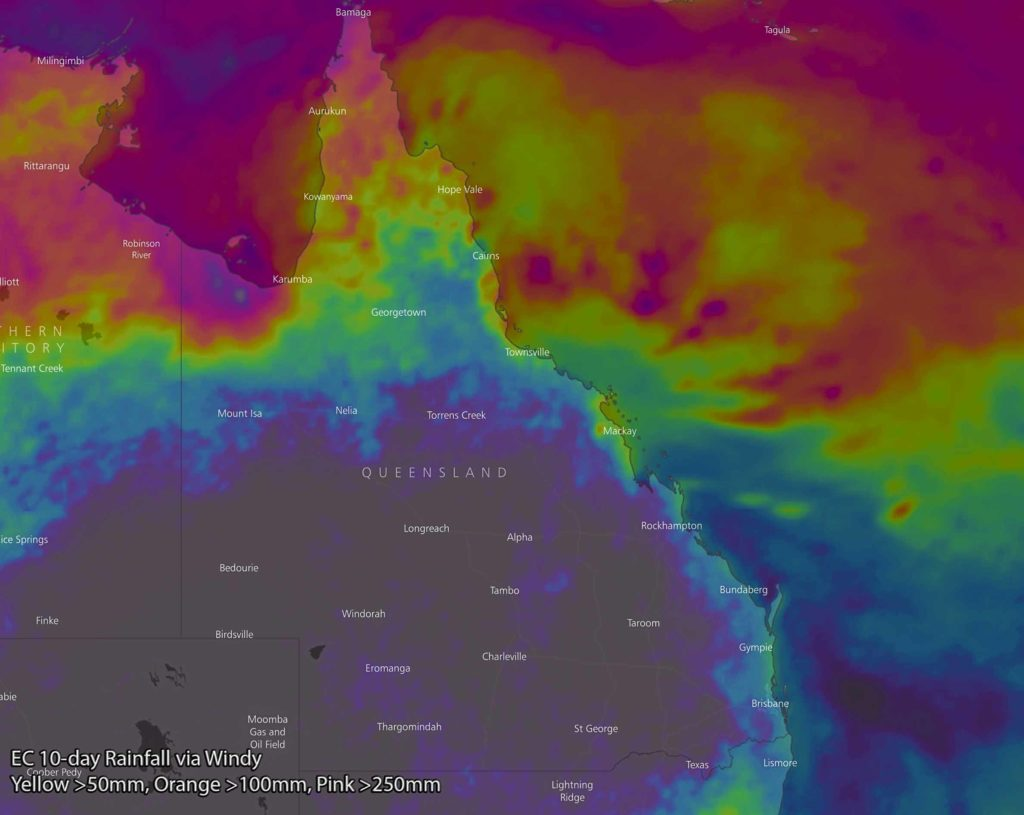 EC model 10-day rainfall via Windy showing 50mm+ (yellow) for CQLD, 100mm+ (orange) for NQLD, 250mm+ (pink) and 500mm+ (grey)