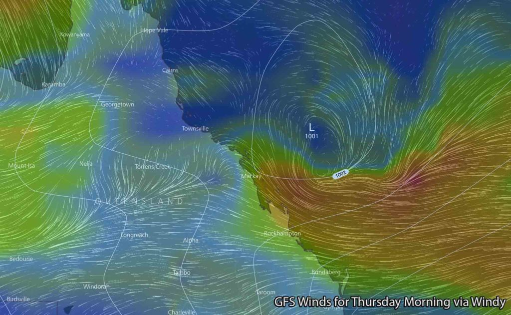 GFS model showing a Tropical Low off the NQLD Coast during Thursday via Windy