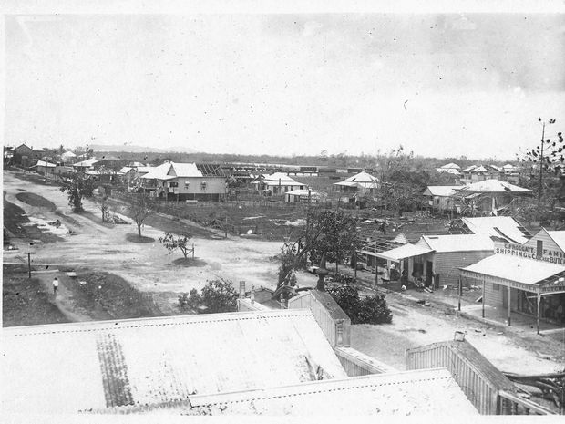 View from the Grand Hotel following the landfall of the Mackay Cyclone. Image via the Mackay Museum