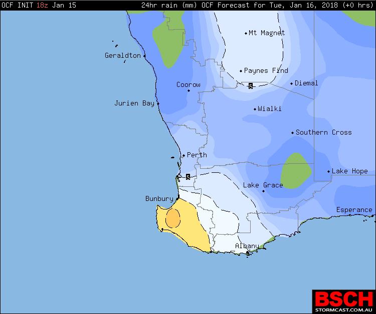 Forecast 24hr rainfall for Tuesday via OCF