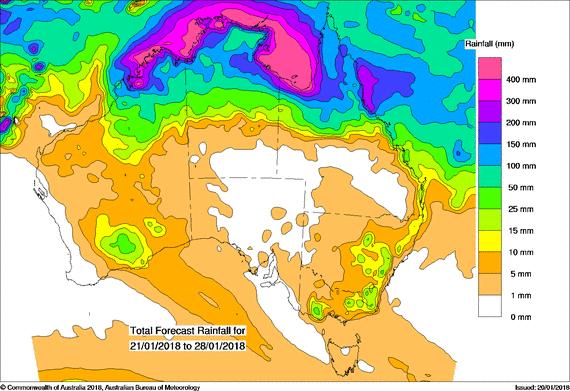 BOM 8 day rainfall