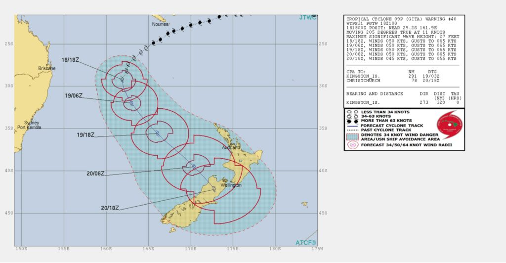 Tropical Cyclone Gita track map via JTWC