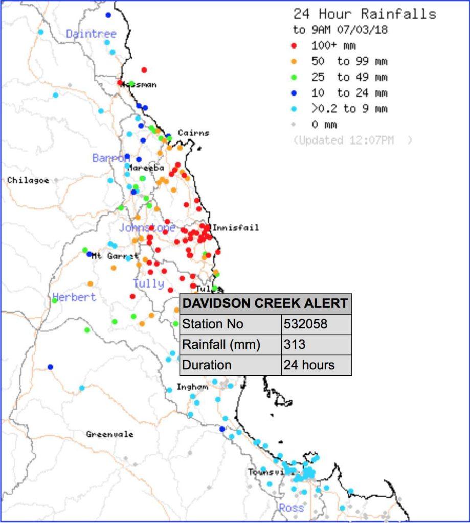 24hr rainfall to 9am Wednesday via BOM