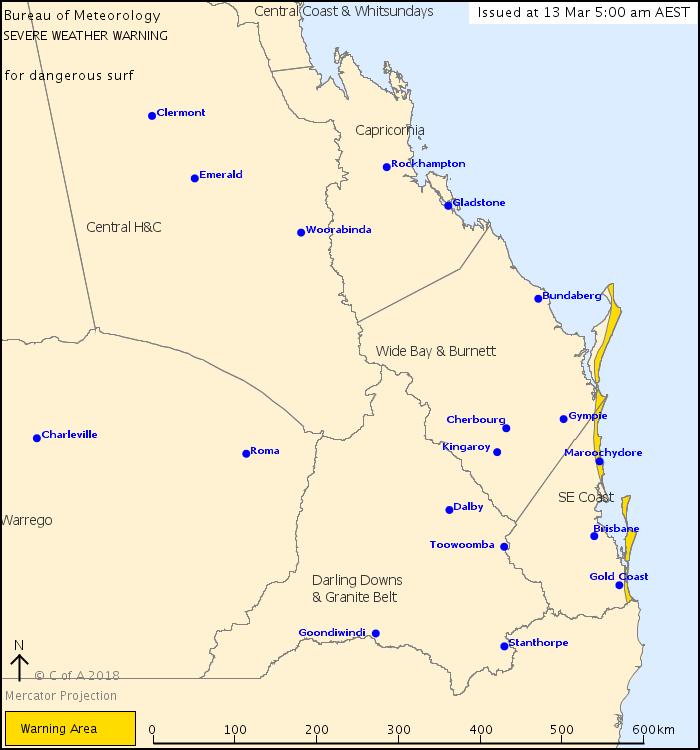 BOM Hazardous Surf Warning for Coastal areas of SEQLD & Fraser Coast