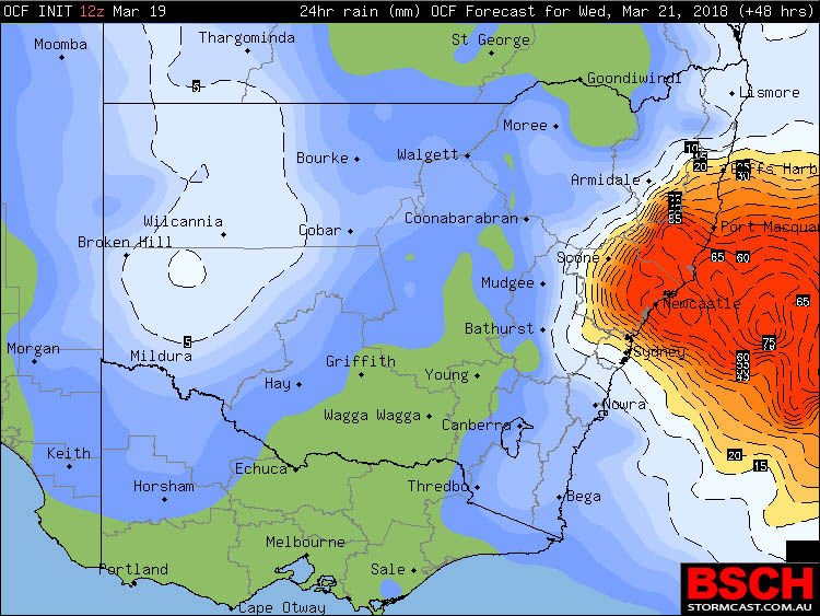 OCF Conservative Rainfall Forecast for NSW on Wednesday via BSCH