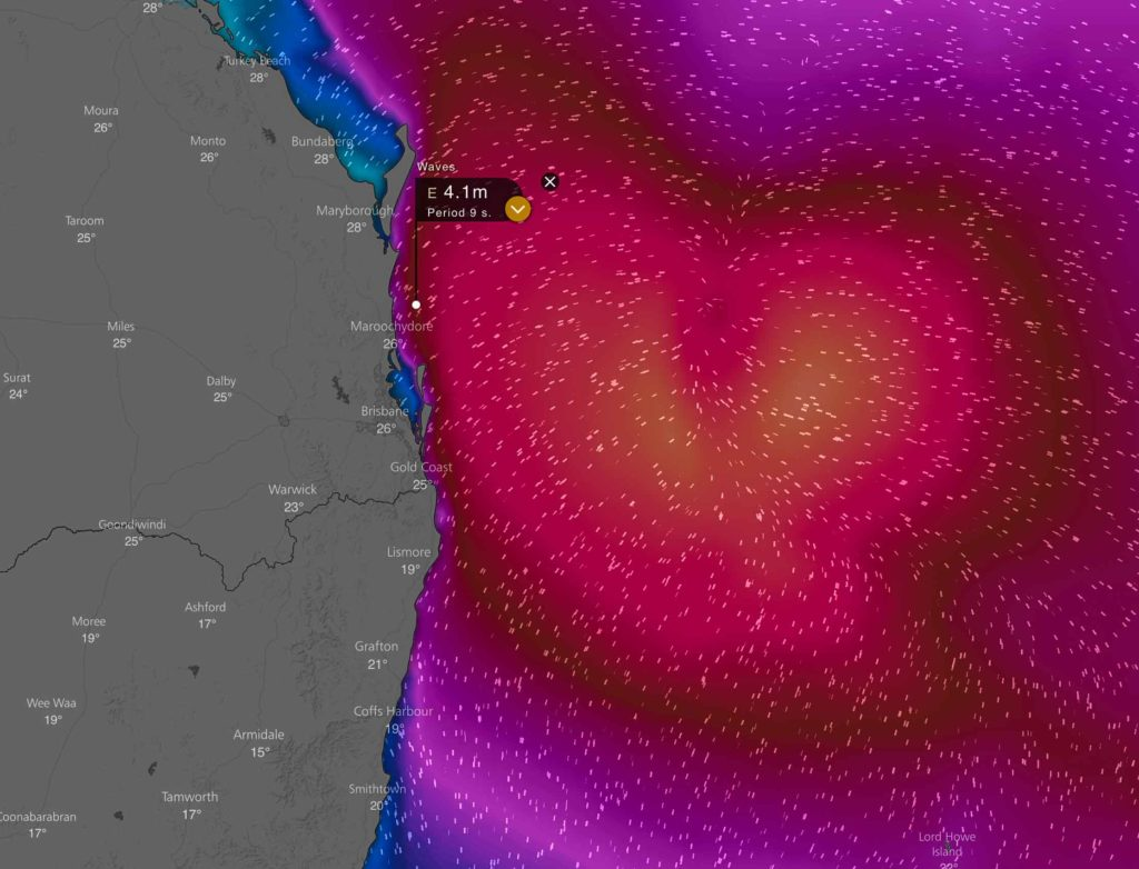 Large waves likely over offshore areas from the Fraser Coast to Gold Coast. Image via Windy