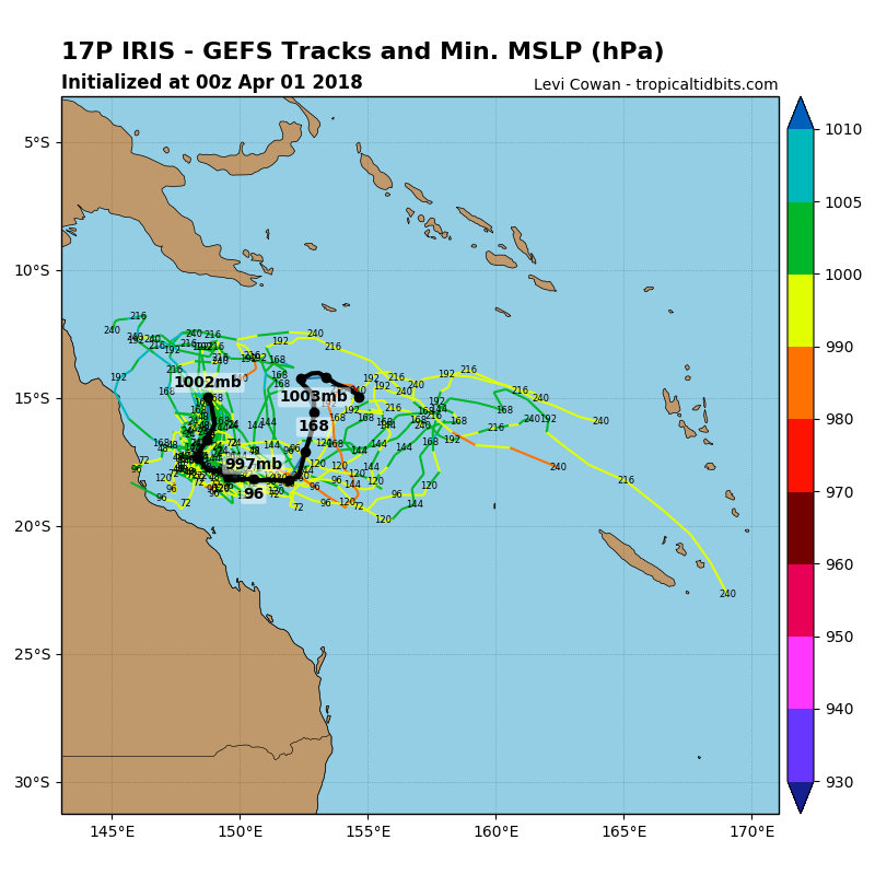 GEFS ensemble forecast tracking as of April 1st via Tropicaltidbits (Black line is most favourable).