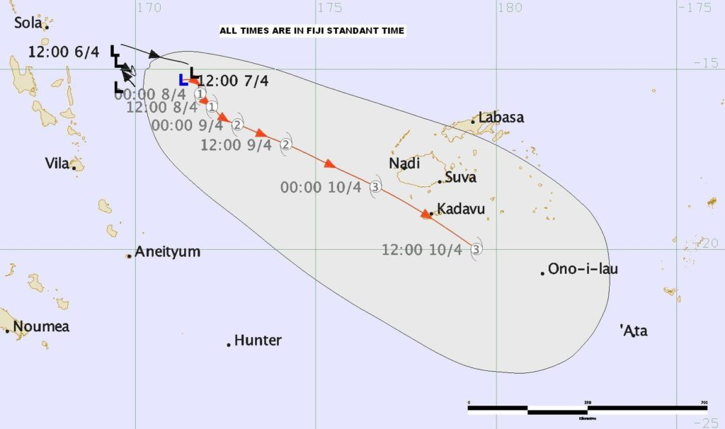 Extended forecast track map issued by Fiji Metservice