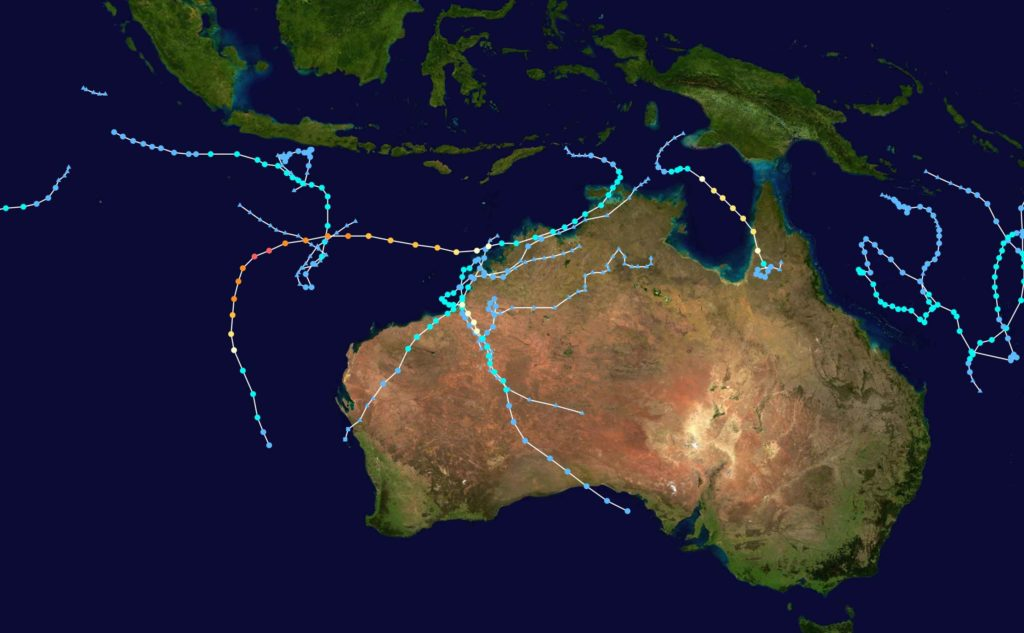 Tropical Cyclone map of Season 2017-18 for Australian waters via Wikipedia