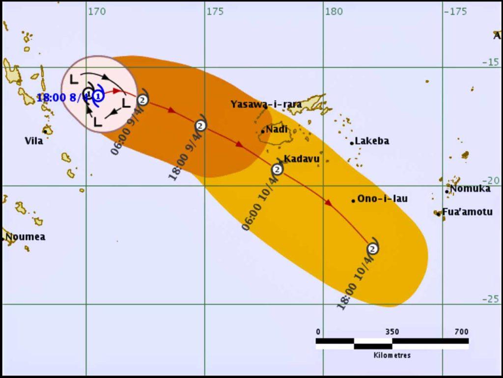 Fiji Metservice track map for TC Keni
