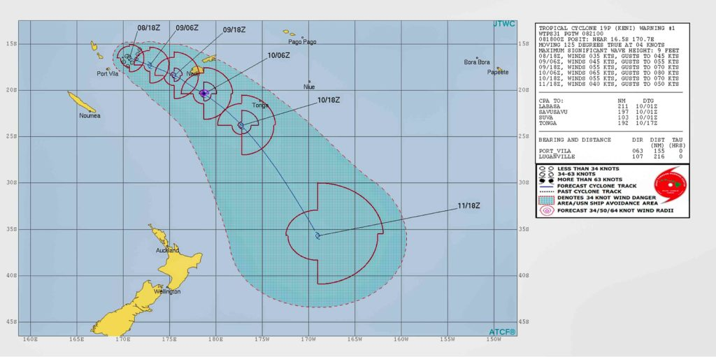 JTWC extended track map for TC Keni