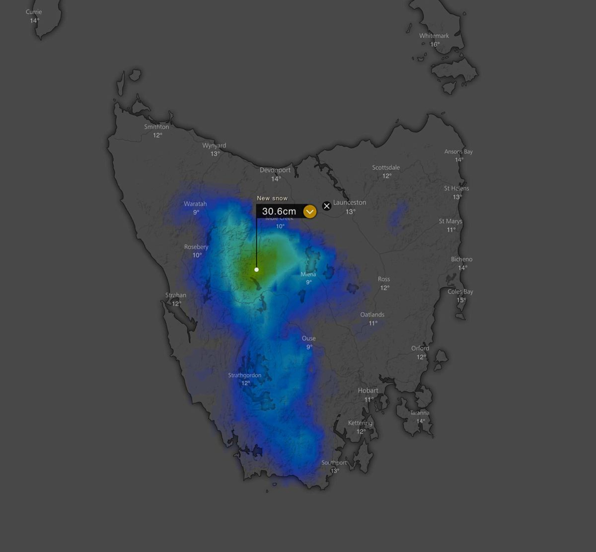 Forecast 3 day snowfall accumulation over TAS via Windy