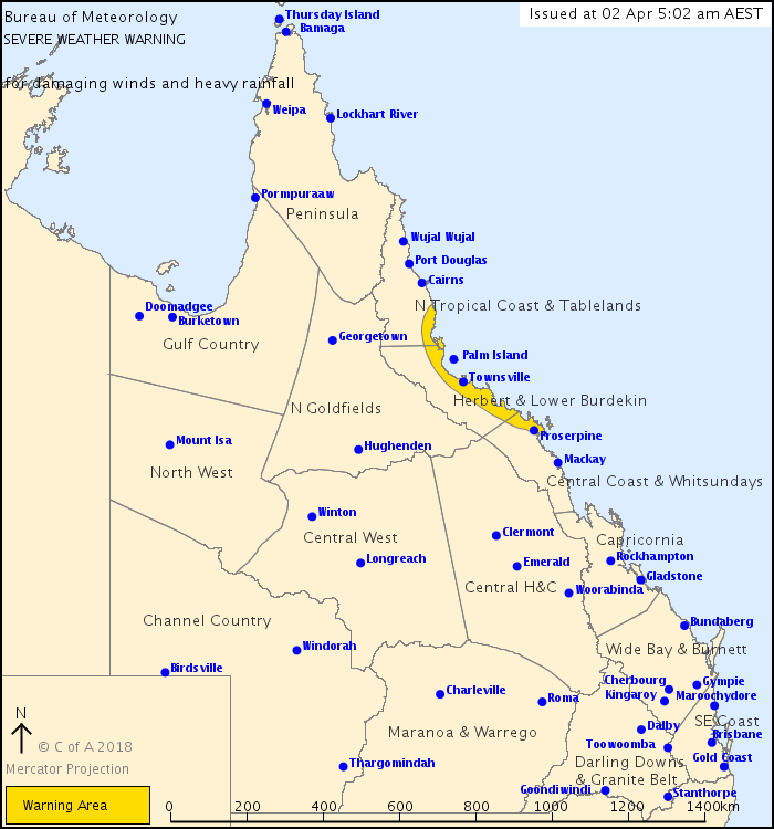 Severe Weather Warning issued by BOM at 5am Monday, April 2nd.