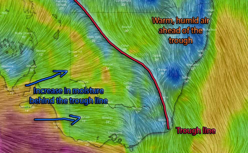 Winds via WindyTV for midnight Friday into Saturday showing the trough line and increased moisture coming in over VIC and Inland NSW