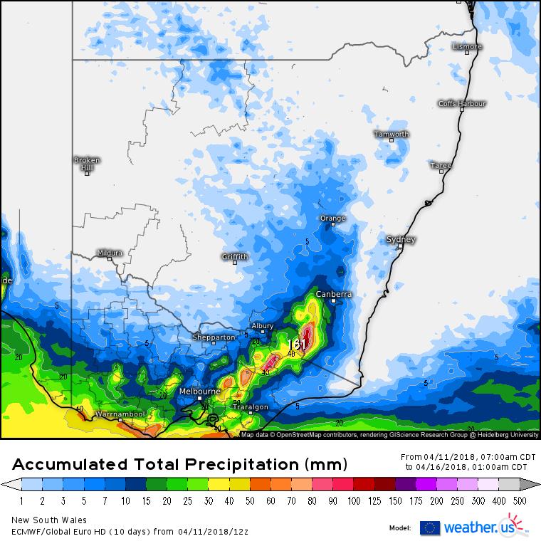 Forecast rainfall via EC model until Monday 1am via weather.us