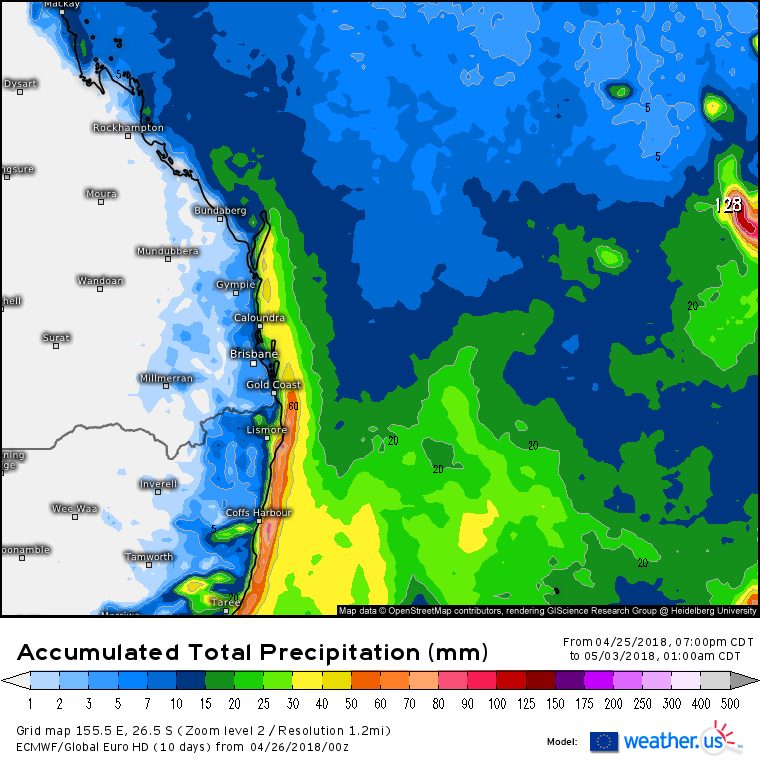 Forecast rainfall accumulation via EC / weather.us for the next week