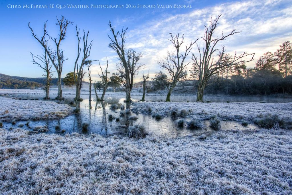 White frost over the Stoud Valley, Booral, NSW via Chris McFerran
