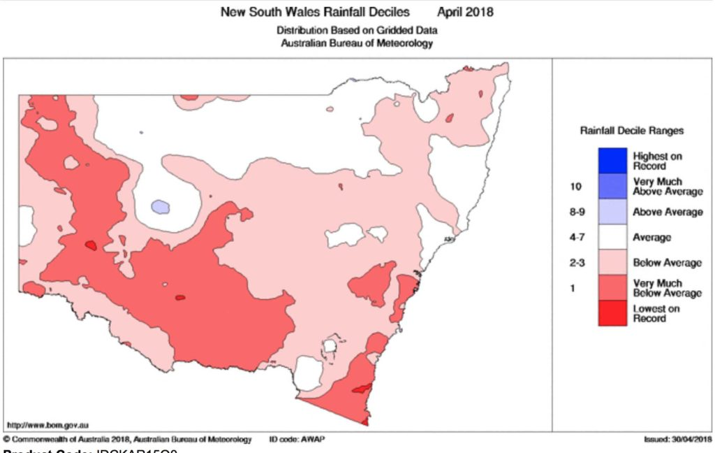 Rainfall deciles for NSW across April. Greater Sydney is showing very much below average.