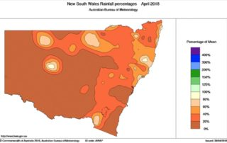April rainfall percentage for NSW (what the actual total was as a percentage of the average) via BOM. Greater Sydney recorded less than 20% of its normal.