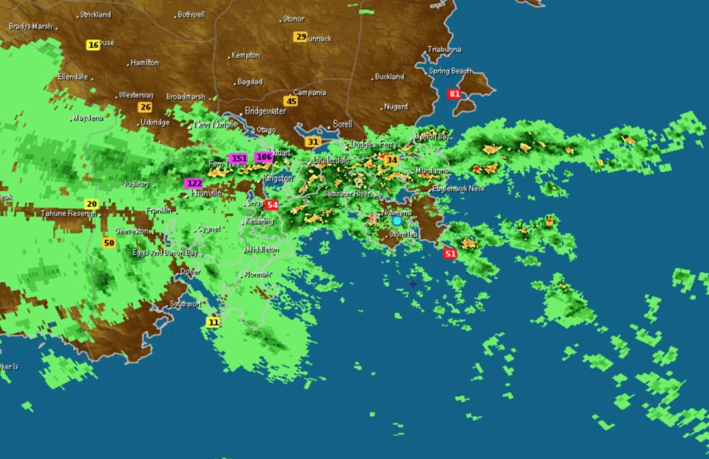 1:50am 11/5/18 radar for Tasmania via Weatherzone