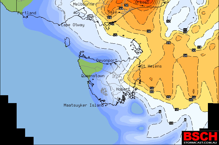 OCF Forecast Rainfall for Friday across Tasmania showing rain easing over the South East and increasing over the North East. Image via BSCH / OCF