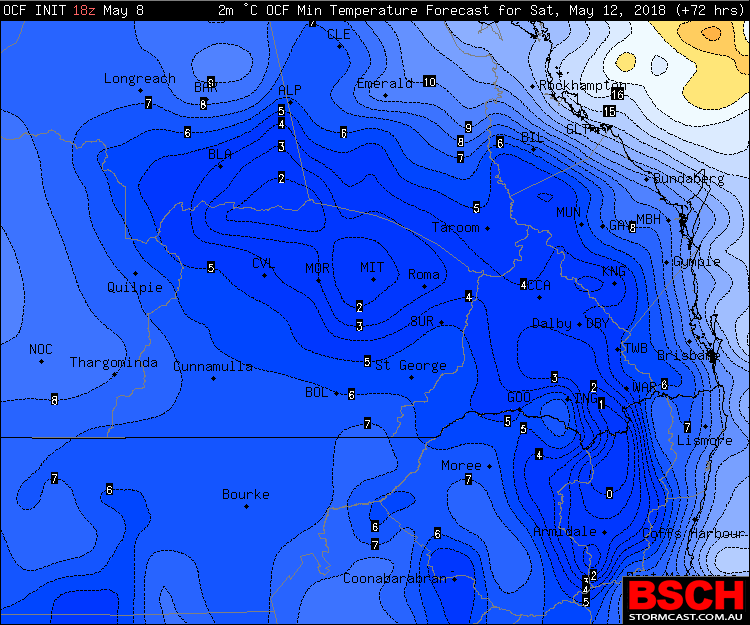 Forecast minimums via BSCH / OCF for Saturday morning across Southern QLD