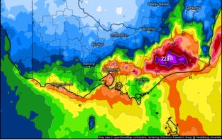 German model showing rain accumulation until Sunday morning via weather.us