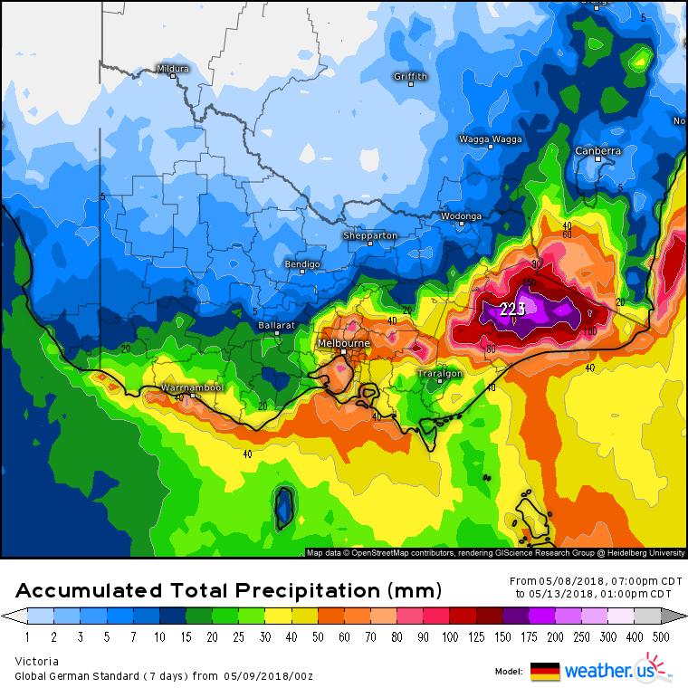 German model showing rain accumulation until Sunday morning via weather.us