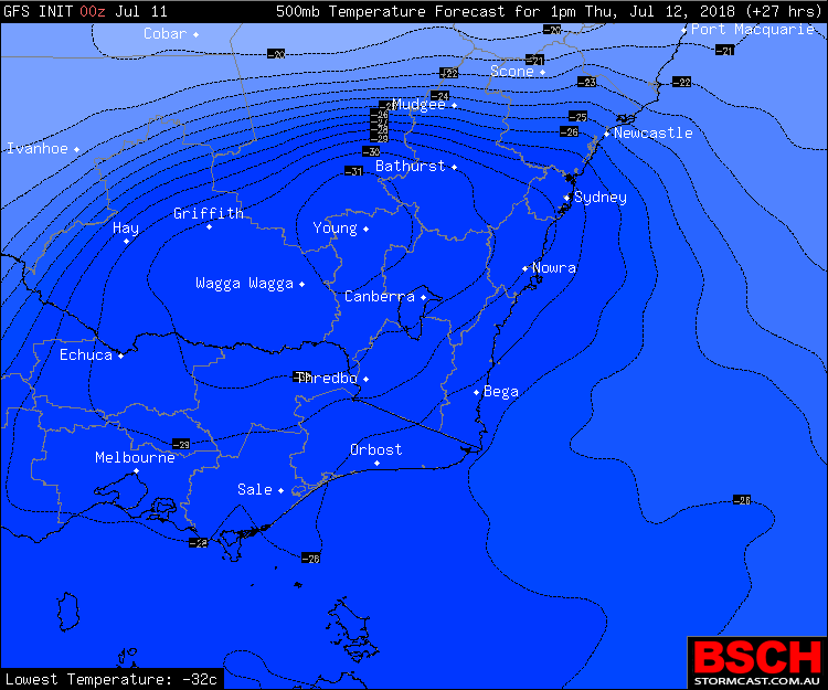 Cold pool over South East NSW via BSCH for Thursday morning