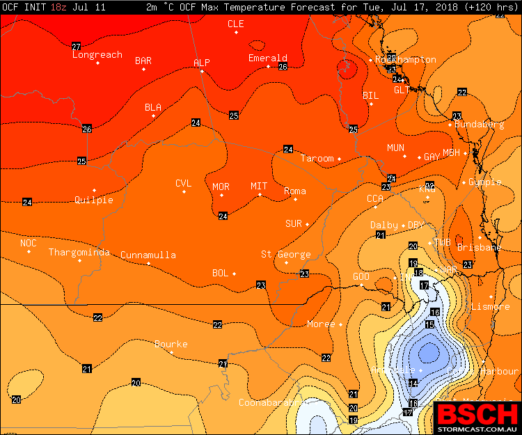 OCF Forecast Maximums via BSCH for Tuesday